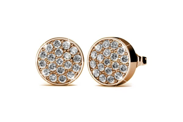 Pave Earrings w/Swarovski Crystals-Rose Gold/Clear
