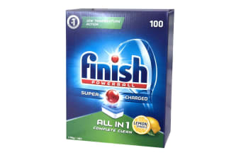 100PK Finish Tabs All in 1 Lemon Tablets Powerball Super Charged for Dishwasher