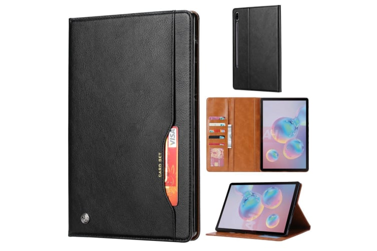 For Samsung Galaxy Tab S6 Case  Wallet PU Leather Flip Cover  Black