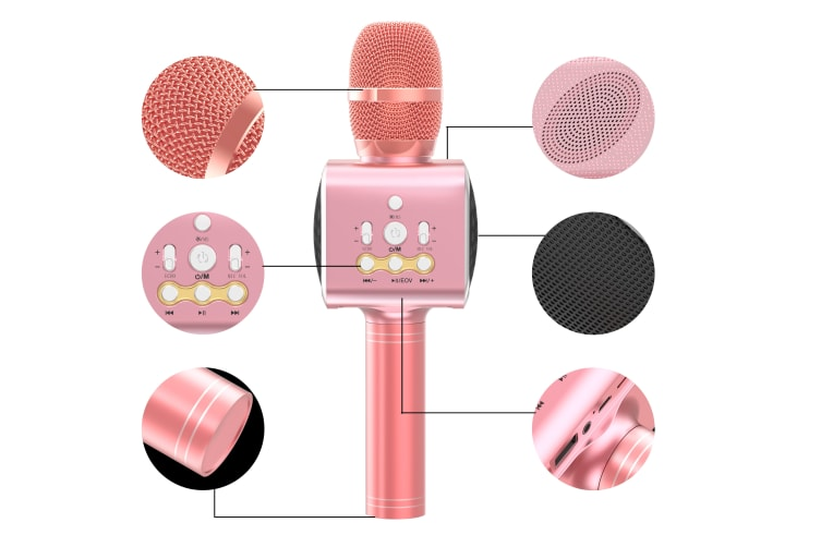 Kogan Bluetooth Karaoke Microphone with Built-in Speaker and LED (Rose Gold)
