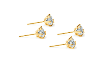2PK Women 18K Gold layered 9mm Stud Earrings Star Solitaire w/Swarovski Crystal