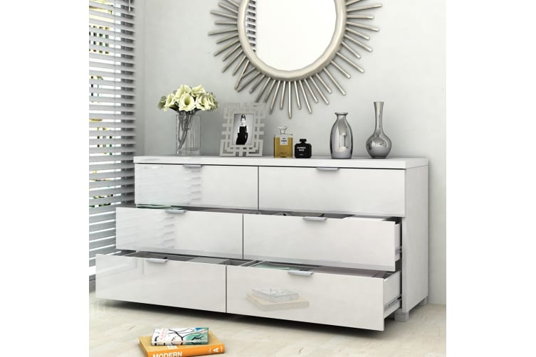 Kyana High Gloss 6 Chest Drawer Storage Cabinet Sideboard Dresser Table Cupboard