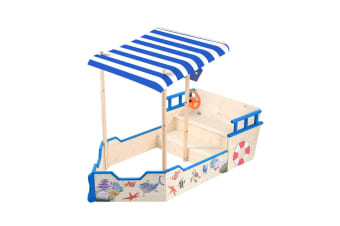 Wooden Boat Sandbox with Canopy Kids Sandpit Toys