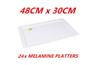 24 x White Melamine Serving Trays Rectangle Wedding Party Catering 48cm Platter