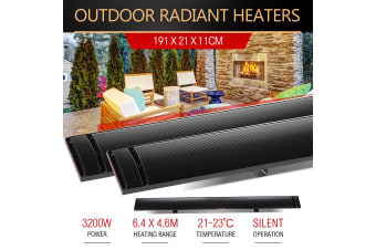 2X 3200W Electric Outdoor Radiant Heater Strip Slimline Heat Bar Watt New MAXKON