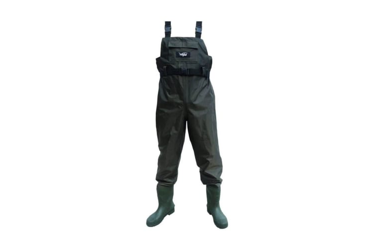 Size 11 Wildfish Chest Wader-Tough Nylon/PVC Fishing Wader with Integrated Boot