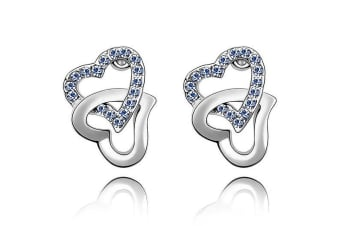 Hearts Entwined Studs w/Swarovski Crystals-White Gold/Cornflower Blue