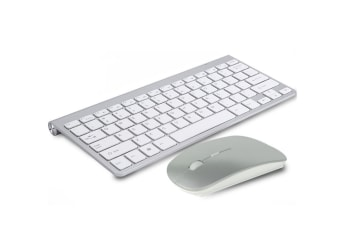 Wireless Ultra-Thin Mini Mouse Keyboard Set Usb Wireless Key Mouse Set - Silver Grey Silver