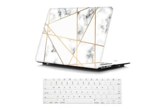 """Marble Frosted Matte Hard Case with Free Keyboard Cover for MacBook Pro 13"""" 2016-2018 A1706 A1989 (With Touch Bar)-Gray Marble"""