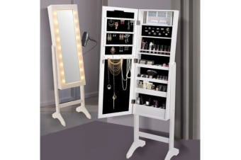Full Length Mirror Jewellery Cabinet Makeup Storage with LED light WHITE
