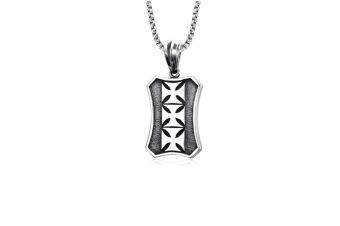 Mens Stainless Steel Medieval Maltese Cross Octagon Dog Tag Pendant Necklace Silver Pendant+Chain