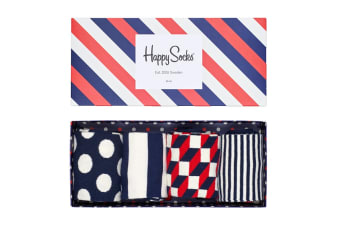 Happy Socks Stripe Gift Box (Blue/White/Red, Size 41-46)