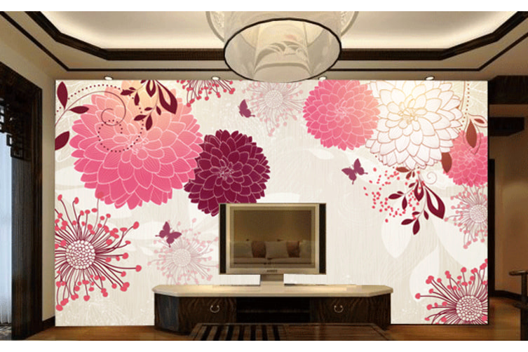 Bloomy Blossoms 2 Woven paper (need glue), XL 208cm x 146cm (WxH)(82''x58'')