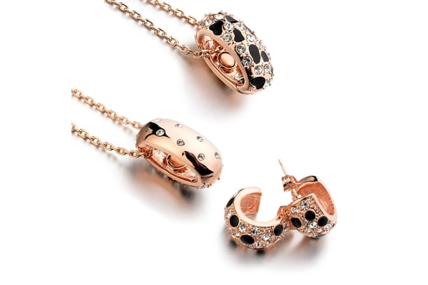Prowess Necklace And Earrings Set-Rose Gold/Black