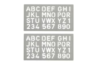 2PK Celco Lettering Pastic Stencil 20mm 0-9 Numbers/Letters Alphabet Art/Craft