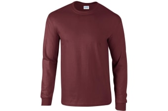 Gildan Mens Plain Crew Neck Ultra Cotton Long Sleeve T-Shirt (Maroon) (L)
