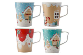 4PC Maxwell & Williams 450ml Candylicious Christmas Mugs Cup Hot Cold Gift Boxed