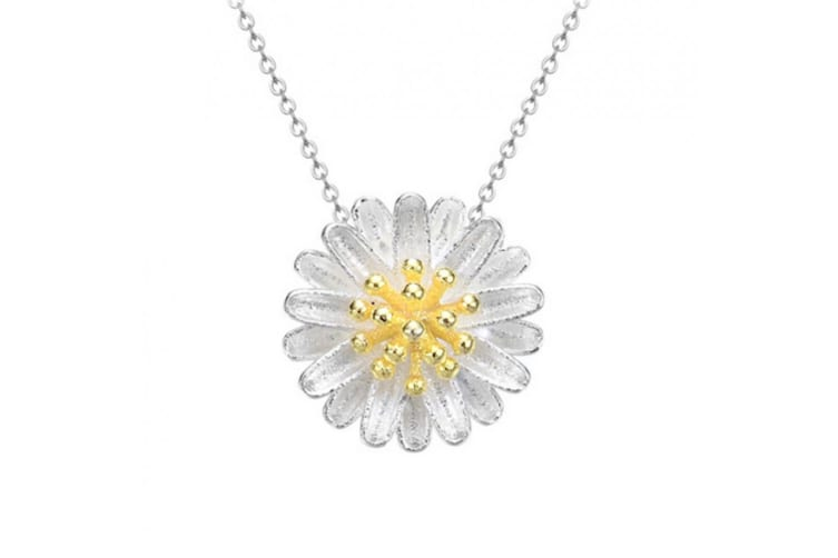 .925 Blooming Flower Pendant-White/Yellow