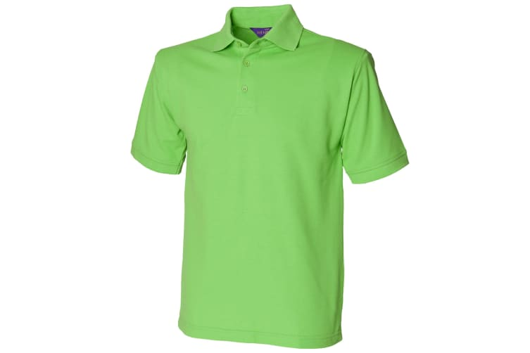Henbury Mens Short Sleeved 65/35 Pique Polo Shirt (Bright Lime) (XL)