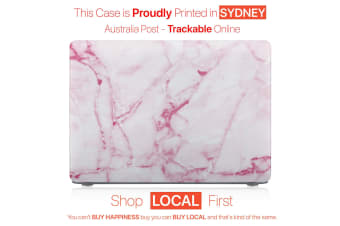 "Hard Case Cover for Apple Macbook Pro 13"" Inch  A1708-Matte Clear-Marble White Pink"