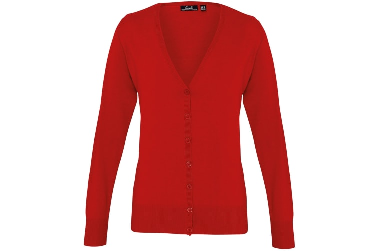 Premier Womens/Ladies Button Through Long Sleeve V-neck Knitted Cardigan (Red) (24)