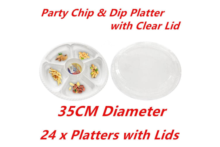 24 x PLASTIC 5 SECTION CHIP DIP SERVING PLATTERS W LIDS CATERING TRAY PARTY 35CM