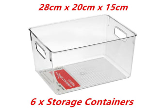 6 x Large Crystal Clear Plastic Container w Carry Handle Fridge Pantry Storage 28cm