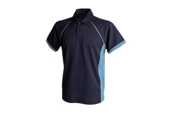 Finden & Hales Mens Piped Performance Sports Polo Shirt (Navy/Sky/White)