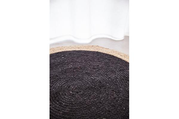 Round Jute Natural Rug Black 200x200cm