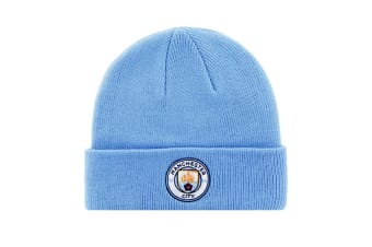Manchester City FC Adults Official Knitted Winter Football Crest Hat (Blue)