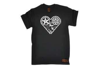 Ride Like The Wind Cycling Tee - Heart Cycle Parts - (Small Black Mens T Shirt)