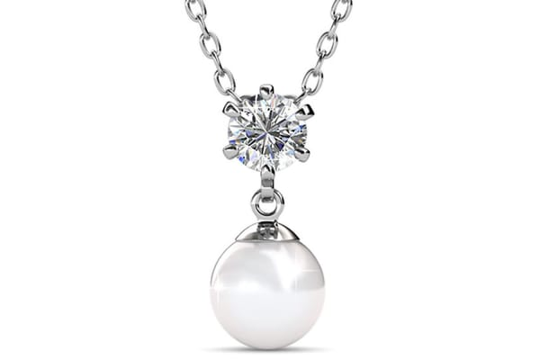Margaux Necklace w/Swarovski Crystals and Pearls-White Gold/Pearl White