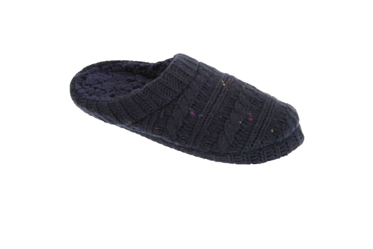 Slumberzzz Mens Knitted Speckle Slipper Shoes (Navy) (7/8)