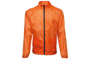 2786 Mens Contrast Lightweight Windcheater Shower Proof Jacket (Pack of 2) (Orange/ Black) (L)