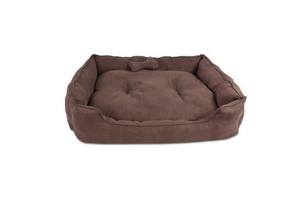 Extra Large Faux Suede Washable Pet Bed (Brown)