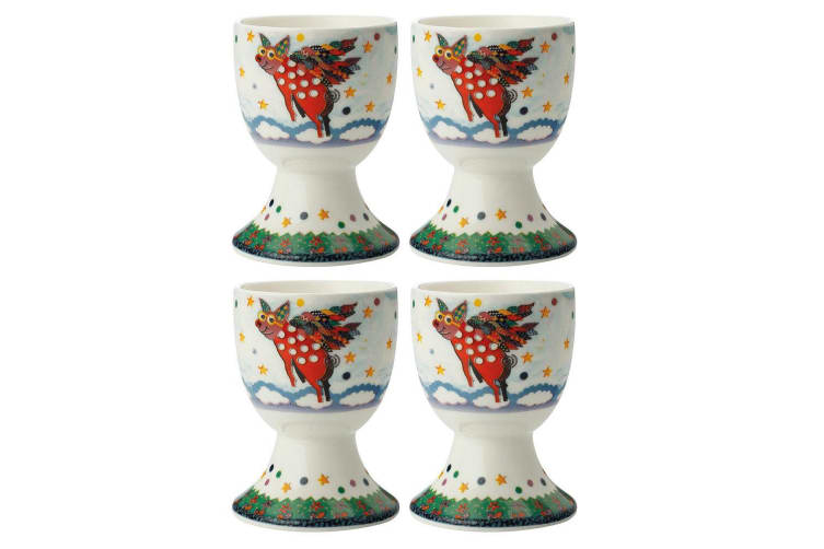 4pc Maxwell & Williams Smile Style Egg Cup Holder Hard Boiled Stand Set Pigasus