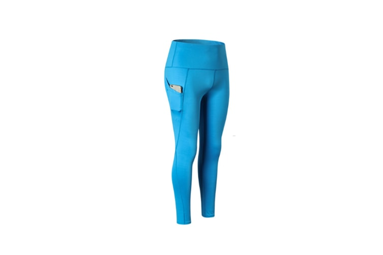 High Waist Yoga Pants With Pockets,Tummy Control,Workout Pants For Women - Blue Blue S