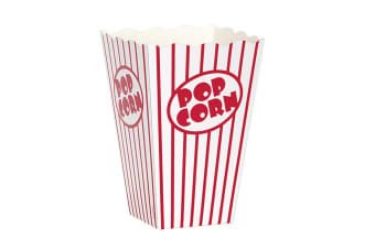Unique Party Cardboard Popcorn Boxes (Pack Of 10) (White/Red)