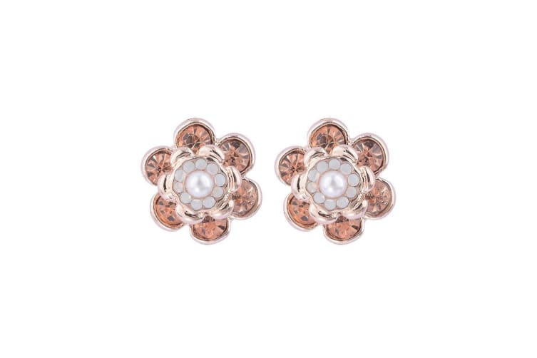 Intrigue Womens/Ladies Blossom Stud Earring (Rose Gold) (One Size)