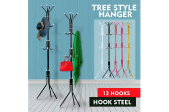 12 Hooks Coat Clothes Rack Umbrella Stand Tree Style BLACK