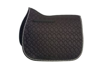 HySPEED Deluxe Saddle Pad With Cord Binding (Black/Black/White/Metallic Silver)