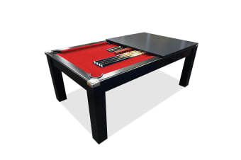 Mace 7FT Black Frame Slate Pool Dining Billiard Table with Top Free Billiard Accessories Pack, Red Felt