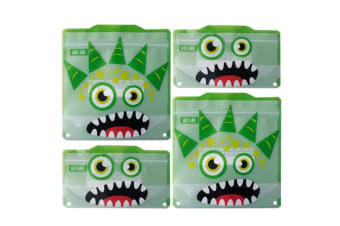 4pc Russbe Kids School Reusable BPA Free Snacks & Sandwich Bags Green Monster