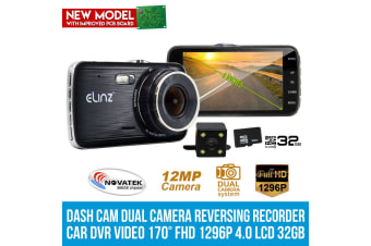 "Elinz 4.0"" LCD Dash Cam Dual Camera Reversing Car 1296P FHD DVR Video 170° 32GB"