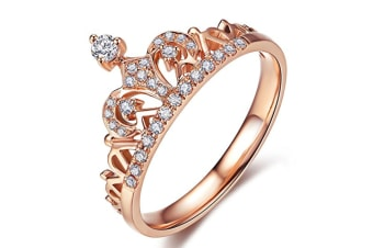 Clear Exquisite Princess Crown Tiara Design Tiny Cubic Zirconia CZ Diamond Accented Fashion Ring