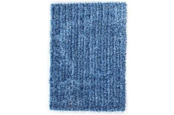 Metallic Noodle Shag Rug Blue  Navy