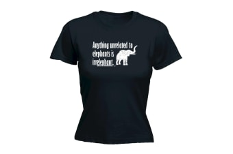 123T Funny Tee - Anything Unrelated To Elephants - (Small Black Womens T Shirt)