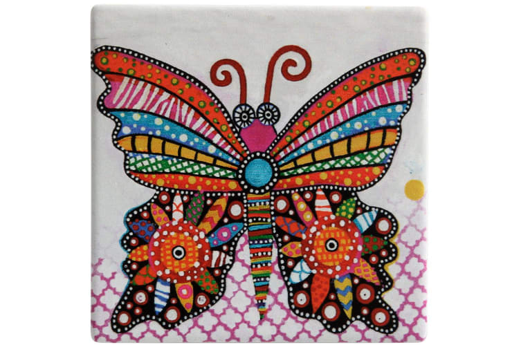 Maxwell & Williams Smile Style Ceramic Tile Coaster Flutter 9cm Placemat
