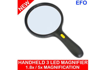 Portable Hand Held Magnifier Glass W/ 3 Led Light1.8X / 5X Magnification