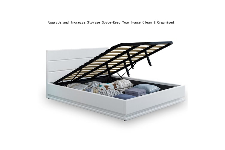 Modern White Leather Storage Bed Frame with LED - Double